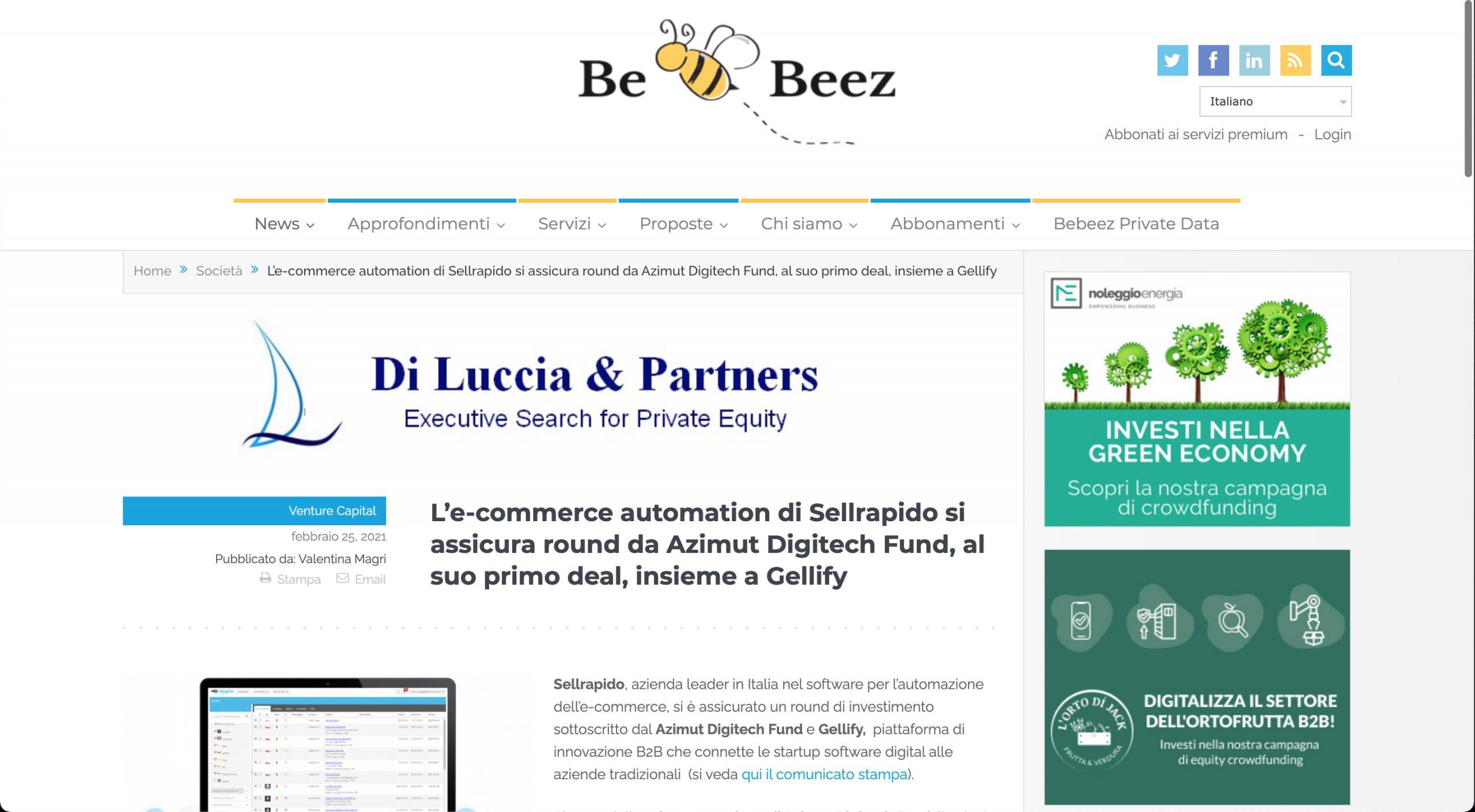 BeBeez: L'e-commerce automation di Sellrapido si assicura round da Azimut Digitech Fund, al suo primo deal, insieme a Gellify